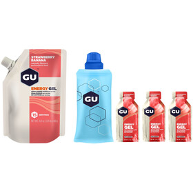 GU Energy Gel Kombipaket Vorratsbeutel 480g + Gel 3x32g + Flask Strawberry Banana